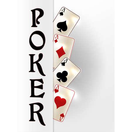 Poker invitation banner, vector illustration