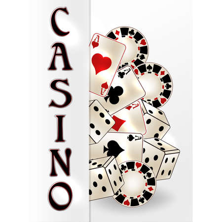 Casino banner with poker cards, vector illustration
