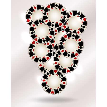 Casino poker chips vip background, vector illustration