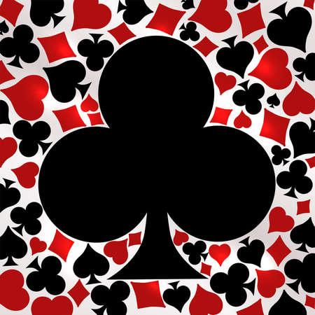 Poker clubs card, vector illustration