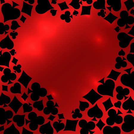 Hearts Poker card, vector illustration