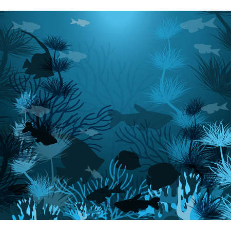 Underwater background with tropical fish, vector illustration