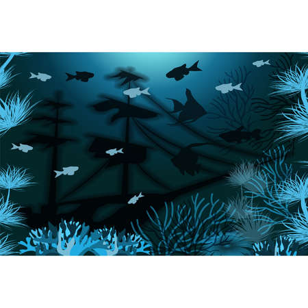 Underwater tropical wallpaper, vector illustration