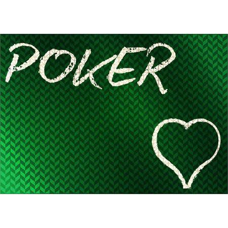 Casino chalk drawing hearts poker card, vector illustration