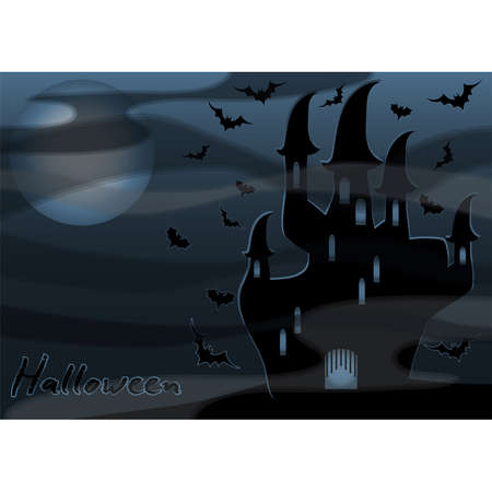 Happy Halloween wallpaper with black castle, vector illustration