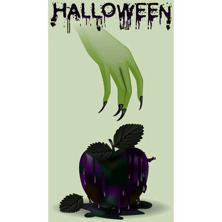 Happy halloween postcard. Poisoned apple and witch, vector illustration