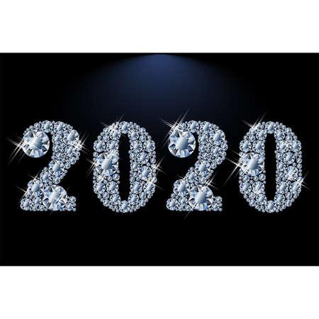 Brilliant diamond New 2020 year, vector illustration