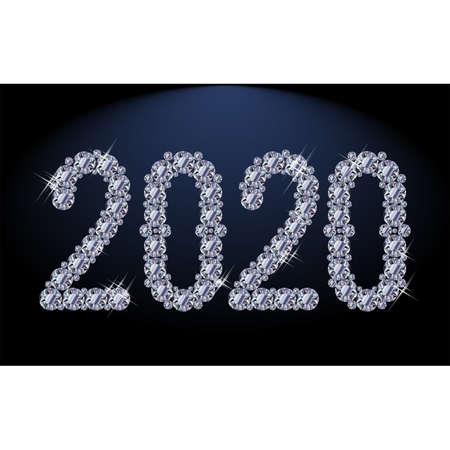 Diamond New 2020 year wallpaper, vector illustration