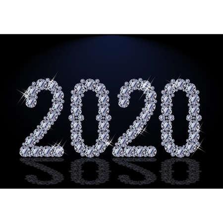 Diamond New 2020 year postcard, vector illustration