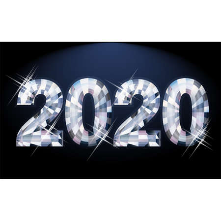 Diamond New 2020 year card, vector illustration