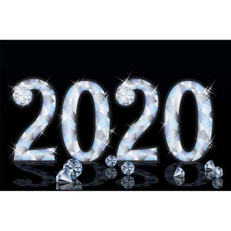 Diamond new 2020year card, vector illustration