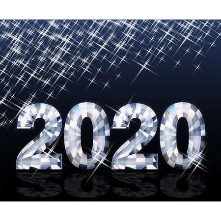 Diamond new 2020 year background, vector illutration