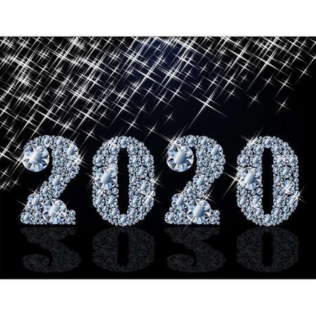 Diamond new 2020 year banner, vector illutration Illustration