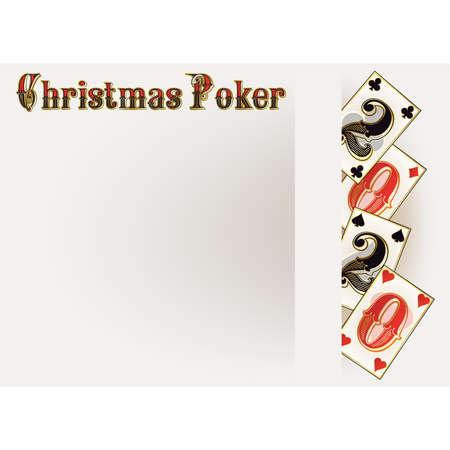 Christmas Poker banner, New 2020 Year, vector