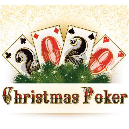 Christmas poker wallpaper, new 2020 year, vector illustration Stock Illustratie