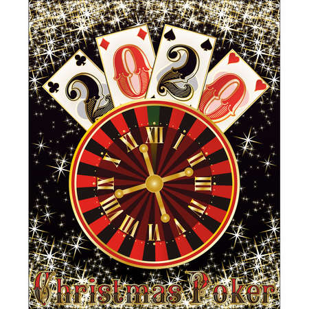 Christmas poker casino, New 2020 year, vector illustration