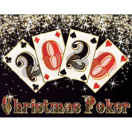 Christmas poker background, new 2020 year, vector illustration Stock Illustratie