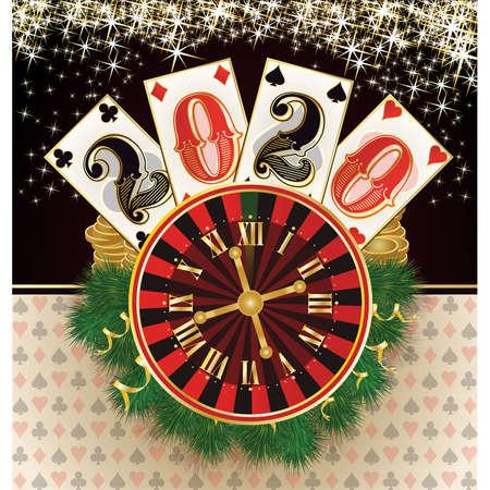 Christmas casino. new 2020 year. vector illustration Stock Illustratie