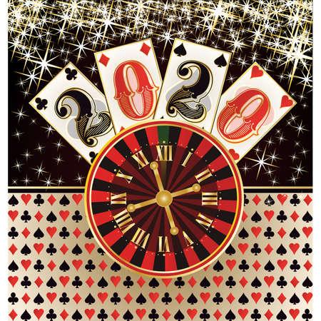 Christmas poker casino background, New 2020 year, vector illustration