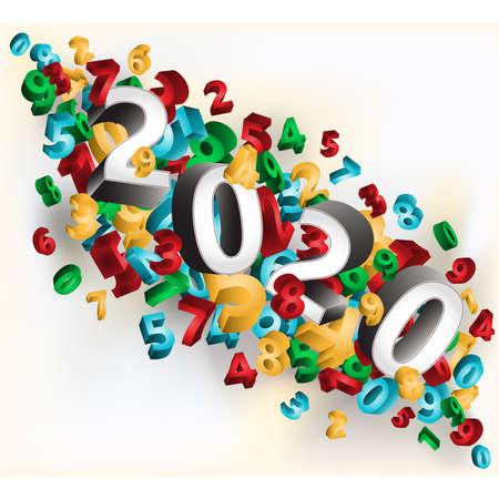 Scheda dell'invito di felice anno nuovo 2020, illustrazione vettoriale Vettoriali