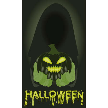 Happy halloween invitation card. Poison pumpkin and witch, vector illustration