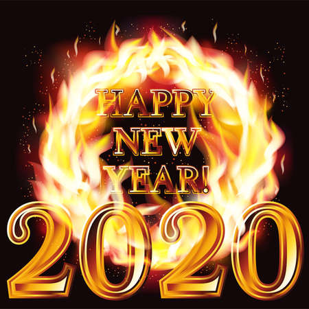 Fire new 2020 year flaming card, vector illustration Illustration