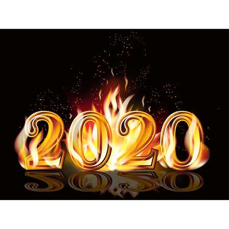 Fire new 2020 year banner, vector illustration Illustration