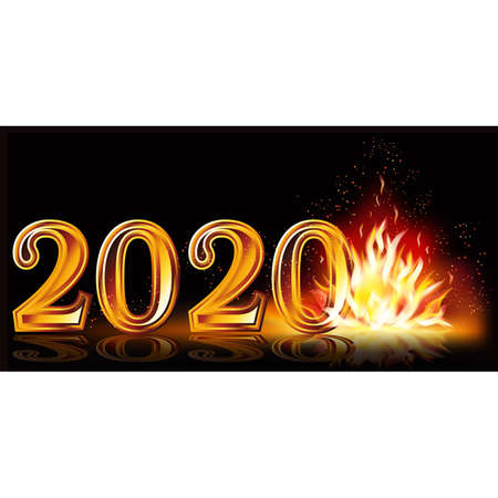 Flame new 2020 year greeting banner, vector illustration