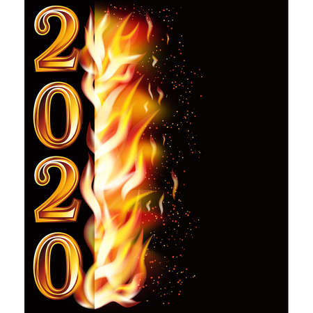 Flame fire new 2020 year banner, vector illustration