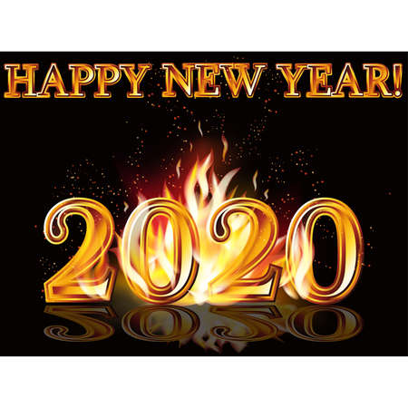 Flame Happy new 2020 year background, vector illustration Illustration