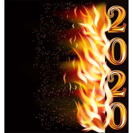 New flame 2020 year banner, vector illustration Vector Illustration