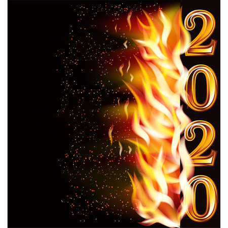 New flame 2020 year banner, vector illustration Illustration