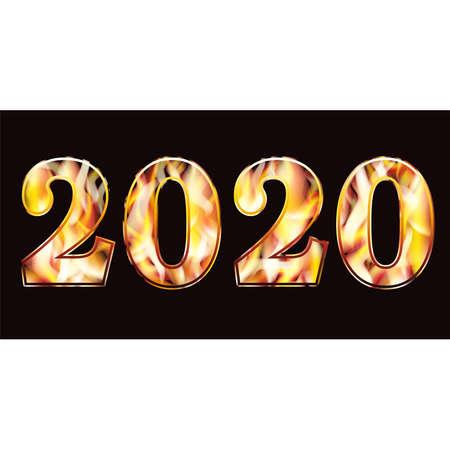 Flame new 2020 year banner, vector illustration Ilustração