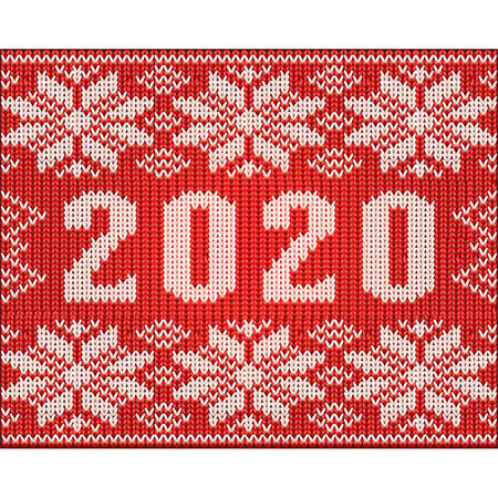 New 2020 year knitted pattern wallpaper, vector illustration Çizim