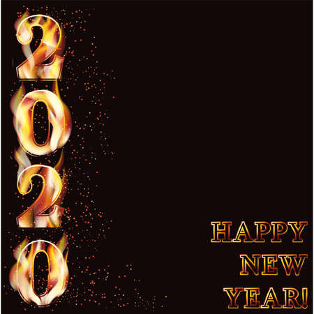 Happy fire new 2020 year invitation background, vector illustration