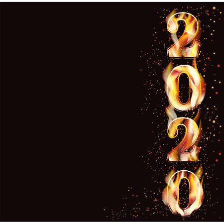 Happy new flame 2020 year background, vector illustration Illustration
