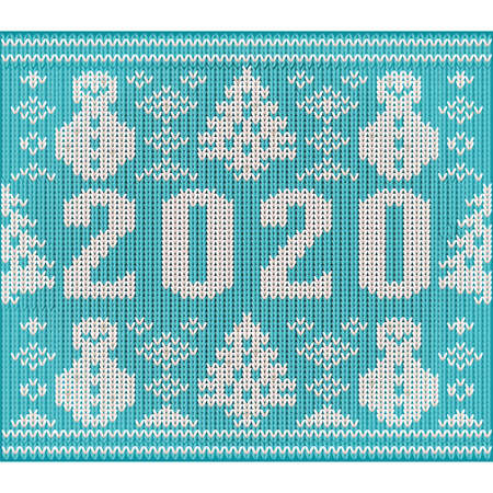 New 2020 year knitted pattern wallpaper with snowman and xmas tree, vector illustration