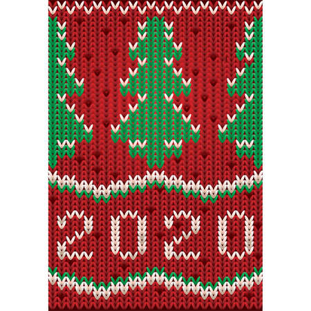 New 2020 year knitted banner with xmas tree, vector illustration Çizim