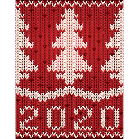 New 2020 year knitted pattern wallpaper with xmas tree, vector illustration Çizim