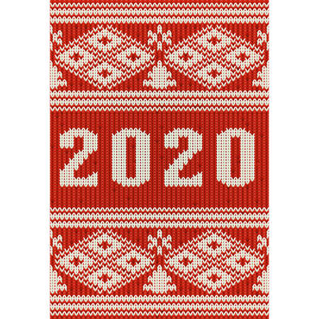 New 2020 year knitted pattern background, vector illustration Çizim