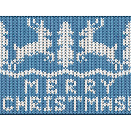New 2020 year knitted wallpaper with xmas deer and tree, vector illustration