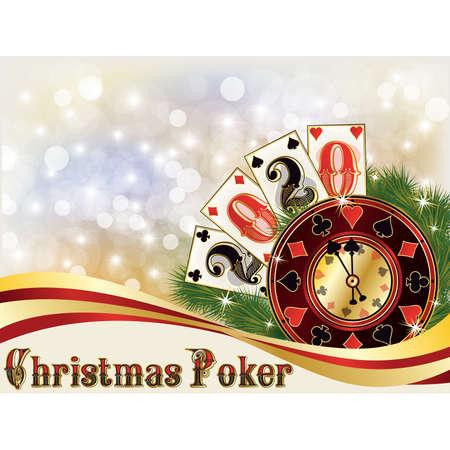 New 2020 year, Christmas casino invitation background, vector illustration