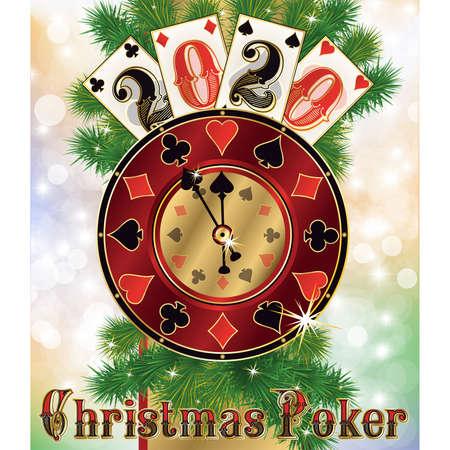New 2020 year, Christmas casino background, vector illustration