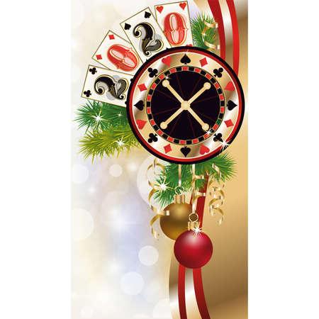 New 2020 year, Christmas casino invitation card, vector illustration