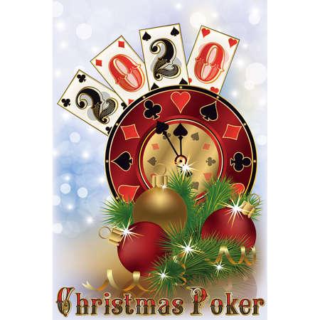 New 2020 year, Christmas casino card, vector illustration