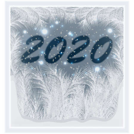Happy New 2020 Year frosted window, vector illustration
