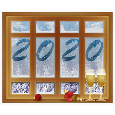 New 2020 Year greeting card, frosted window with champagne, vector illustration Archivio Fotografico - 135494369