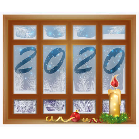 Happy New 2020 Year frosted window with candle, vector illustration