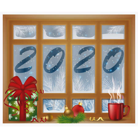 New 2020 Year frosted window with coffee, vector illustration