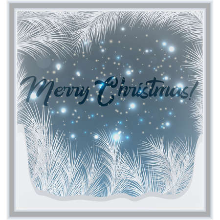 Merry Christmas frosted window card, vector illustration Ilustrace